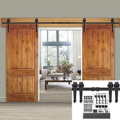 Amazon Com Smartxchoices 12ft Double Sliding Barn Door Hardware Kit Classic Mount Barn Door Rail System W Tr In 2020 Sliding Doors Sliding Door Hardware Door Hardware