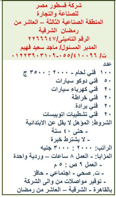 مئات الوظائف الخالية بشركة قسطور مصر للصناعة والتجارة Math Math Equations