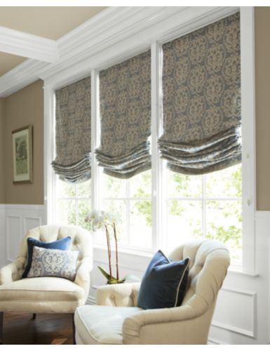 Roman Shade Idea For New House Living Room Dining Room Curtains Curtainideas Bedr Roman Shades Living Room Window Treatments Living Room Dining Room Windows