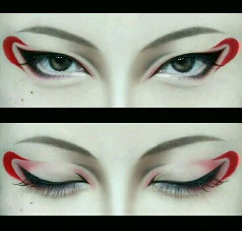 Make up cosplay eyes Anime Eye Makeup, Edgy Makeup, Makeup Inspo, Eyeshadow Makeup, Makeup Art, Makeup Inspiration, Cosplay Makeup Tutorial, Kawaii Makeup Tutorial, Japanese Makeup