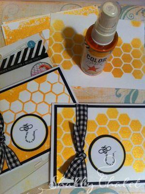 Shabby Chalet Studio 17: Heidi Swapp Honeycomb Stencil and Color Shine
