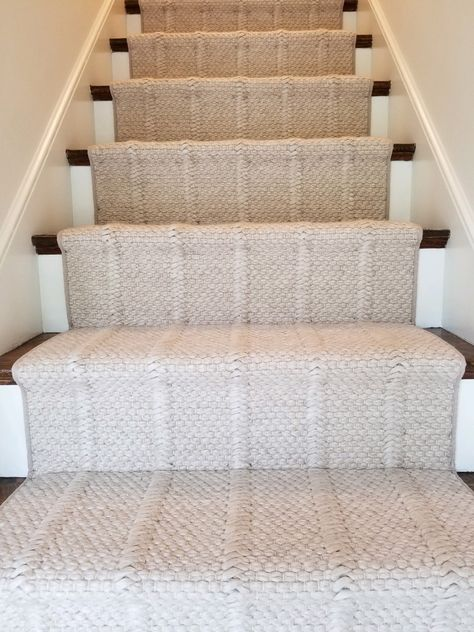 We recently installed this in a home in Wellesley, and it came out great! The carpet chosen is Crescent Carpet, in the style Irvine, in the color Canvas. Swipe through all the photos to see the before photos of the material cut and bound! Home, House Styles, House Design, Staircase Design, New Homes, Stair Runner, Home Carpet, Home Projects, House Interior