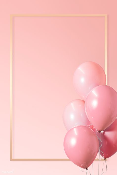 Golden frame balloons on a pink background | premium image by rawpixel.com / HwangMangjoo