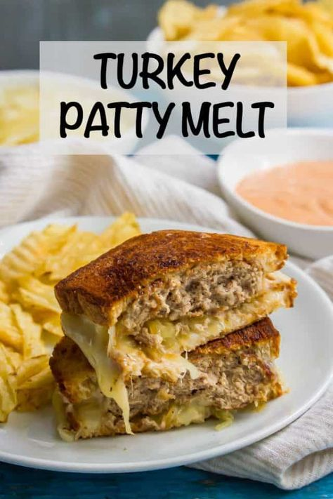 This ground turkey patty melt sandwich is a healthier version of the diner classic and always hits the spot! This melty, cheesy, meaty sandwich is perfect for an easy lunch or dinner the whole family Turkey Burger Recipes, Turkey Sandwiches, Sandwich Recipes, Vegan Sandwiches, Turkey Food, Dinner Sandwiches, Hamburger Recipes, Turkey Melt, Turkey Patty Melt Recipe