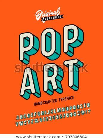 Slanted Pop Art Vintage 3d Sans Serif Font Rounded Colorful Alphabet Retro Typography Framed Outlined Typefac Retro Typography Pop Art Design Pop Art Font