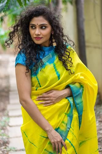 d8dd3a4af8b Lemon yellow and blue shibori shaded semi raw silk saree with tissue ...