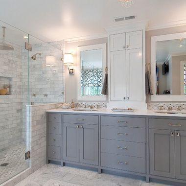 Top 10 Double Bathroom Vanity Design Ideas White Bathroom Designs Bathroom Remodel Master Gray And White Bathroom Bathroom decorating ideas with grey