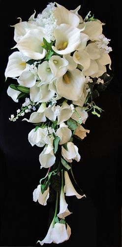 Natural Touch Off White Calla Lilies Cascading Bouquet Cascading Wedding Bouquets Lily Bouquet Wedding Lily Bridal Bouquet