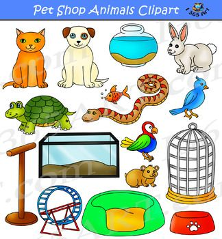 Pet Shop Animals Clipart Set Contains A Variety Of Cute Pet Shop Animals And Supplies In Both Color And Black And White Vers In 2020 Animal Clipart Pet Shop Clip Art
