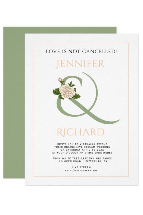 Peach and sage green ampersand with white rose virtual wedding invitation. #invitation #wedding #virtual #virtualwedding #ampersand #peach #sagegreen