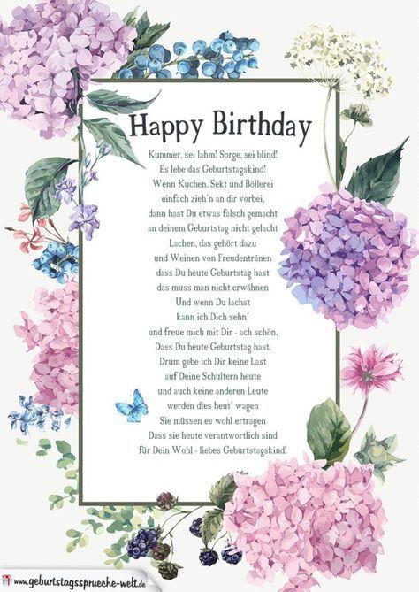 Fröhliches Gedicht Zum Geburtstag Geburtstag Gedicht