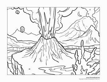 Volcano Coloring Pages Dibujos Volcanes Y Dibujos Para