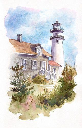 Great Lake Lighthouse Watercolor Peintures De Montagne Peinture