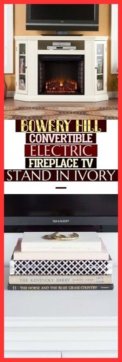 Bowery Hill Convertible Electric Fireplace Tv Stand In Ivory
