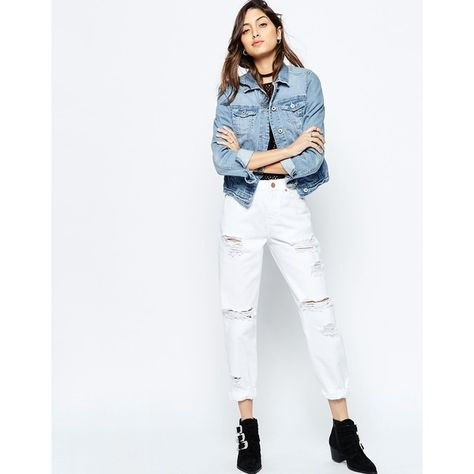 409a5a530da ASOS ORIGINAL MOM Jeans In White With Extreme Rips (€53) ❤ liked on  Polyvore featuring jeans, white, slim leg jeans, white distressed jeans,  high-waisted ...