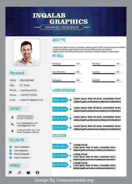 Cv Resume Template Free Vector Art Design Psd And Cdr File Modern Cv Template Cv Design Template Cv Template
