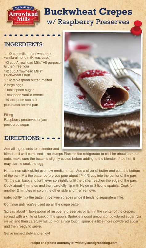 Buckwheat Crepes with Raspberry Preserves Recipe