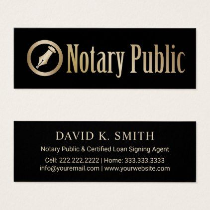 Notary Public Loan Signing Agent Gold Pen Logo Mini Business Card Zazzle Com Loan Signing Agent Loan Signing Notary Public