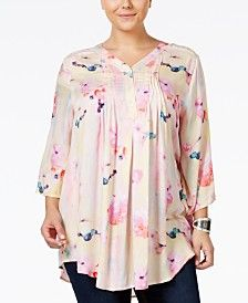 Melissa McCarthy Seven7 Trendy Plus Size Printed Relaxed-Fit Blouse
