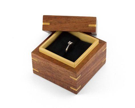 Vintage Hand Crafted Birdseye Maple /& Walnut Ring Trinket Box with Sliding Top Artisan Made Rustic Wedding Ring Box Wood Jewelry Box