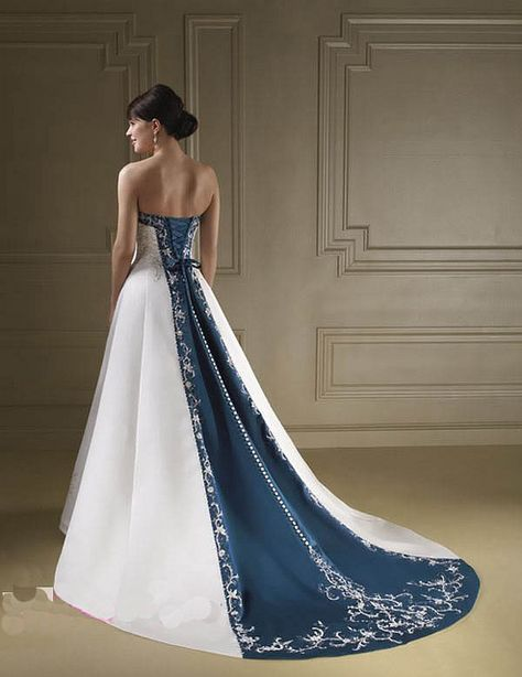 20 Beautiful Blue And White Wedding Dress Style Ideas How do you choose a wedding dress? When choosing a wedding dress, you need to consider many factors. So for example, direct wedding dresses are very unsuitable for skin tone and color. So if you li… White Wedding Dresses, Wedding Dress Styles, Bridal Dresses, Blue Dresses, Wedding Gowns, Prom Dresses, Bridal Gown, Wedding White, White Bridal