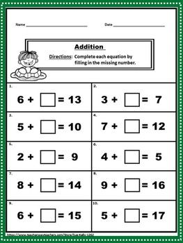 Addition And Subtraction Within 20 Printables Addition And Subtraction 2nd Grade Math Worksheets First Grade Worksheets Math worksheets addition within 20