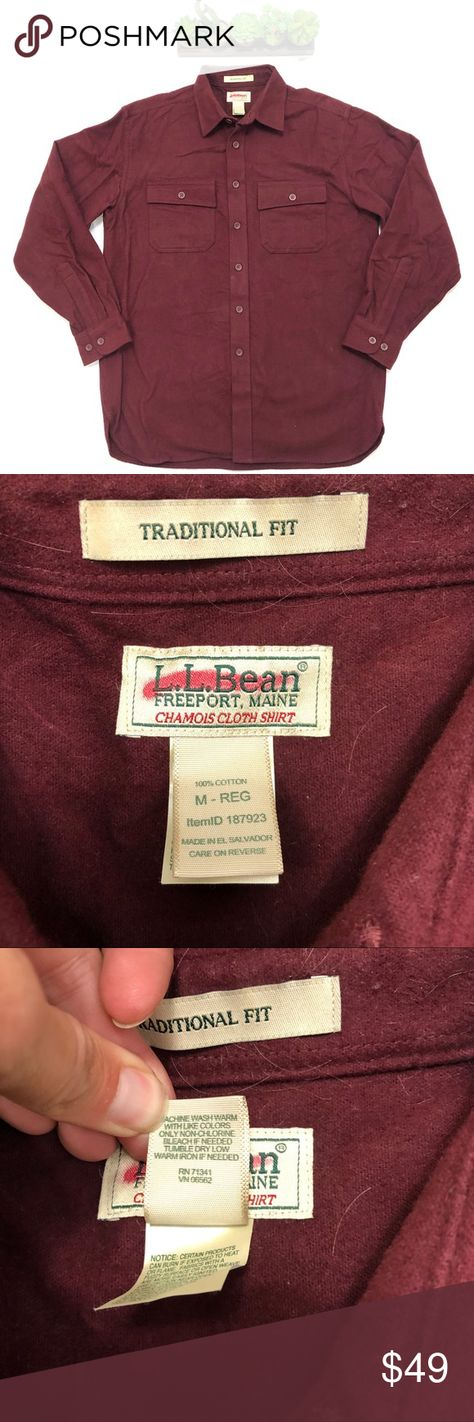 NEW Men's L. L. bean Chamois size Medium Brand New!!! NWOT. Boyfriend bought this for himself and decided he didn't love the fit on himself. He spent over $90 on this shirt. Once you own one, you will want to own one in every color! Super soft flannel material keeps you warm! Very tough and thick flannel-shirt is not for whimps! Dark red or burgundy color.   NEW Men's L. L. bean Chamois size Medium L.L. Bean Shirts Casual Button Down Shirts