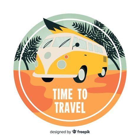 Flat vintage travel logo Free Vector | Free Vector #Freepik #freevector #freelogo #freebusiness #freevintage #freetree
