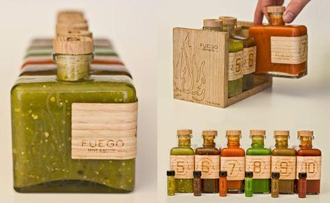 love the glass + bottle shape + wood holder
