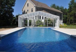 Pool Enclosures Manufactured By Roll A Cover Intl Pool Enclosures Residential Pool Indoor Outdoor Pool