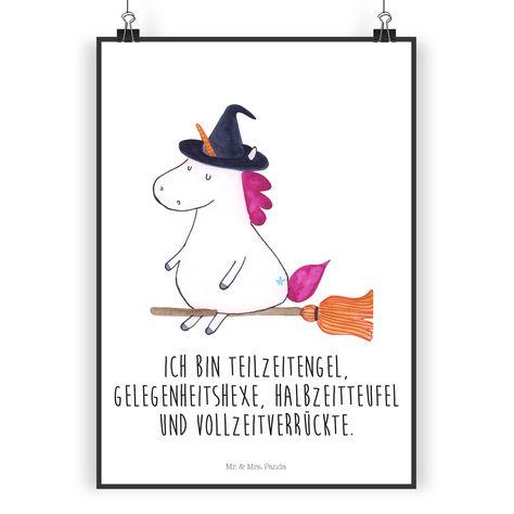 Poster DIN A4 Einhorn Hexe aus Papier 160 Gramm  weiß - Das Original von Mr. & Mrs. Panda.  Jedes wunderschöne Poster aus dem Hause Mr. & Mrs. Panda ist mit Liebe handgezeichnet und entworfen. Wir liefern es sicher und schnell im Format DIN A4 zu dir nach Hause.    Über unser Motiv Einhorn Hexe  Ein Einhorn Edition ist eine ganz besonders liebevolle und einzigartige Kollektion von Mr. & Mrs. Panda. Wie immer bei unseren Produkten sind alle Motive handgezeichnet und werden mit viel Liebe in u...