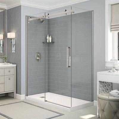 Maax Shower Stalls Enclosure Utile Corner Shower In Metro Ash Grey With Base And Door Shower Wall Panels Simple Bathroom Bathtub Remodel