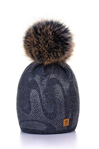 MFAZ Morefaz Ltd Wurm Winter Strickm/ütze M/ütze Damen Kristalle Kiesel mit Gro/ße Bommel Pompon SKI