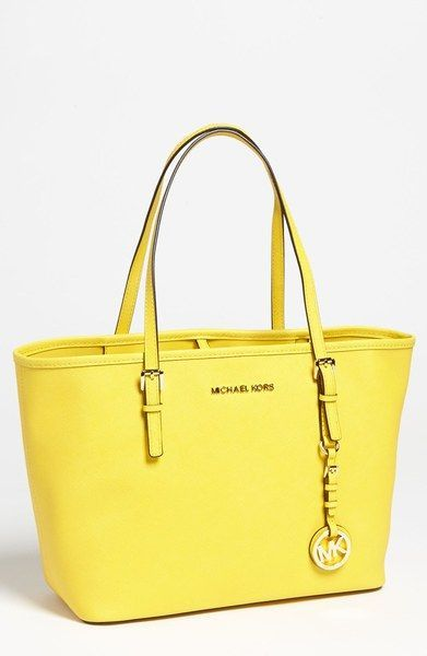 Michael By Michael Kors Yellow Jet Set Small Travel Tote