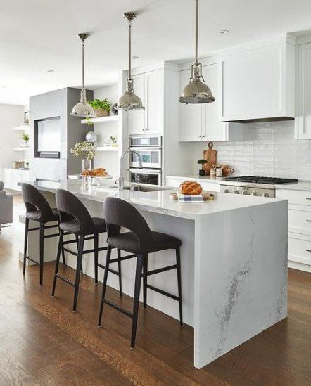 39 Ideas For Kitchen Island Waterfall Quartz Countertops Kitchen Design White Kitchen Island Waterfall Countertop