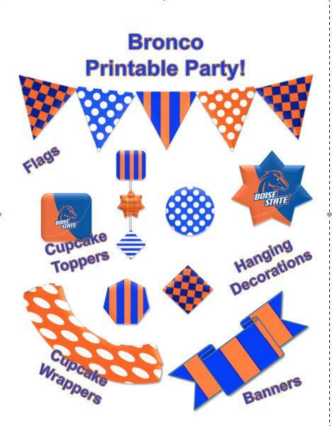 Diy Boise State Bronco Printable Party By Printablepartydesign