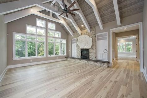 Great Room Family With Cathedral Ceiling And Exposed Beams Creek Hill Custom Homes Greenfield Mn Home