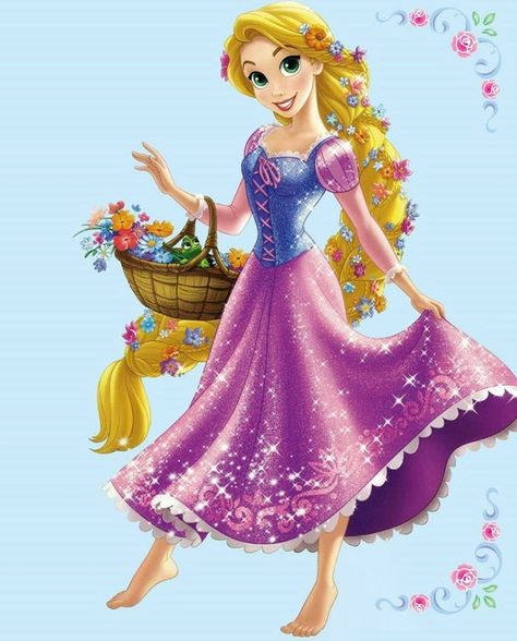 Rapunzel with her basket of flowers and Pascal the chameleon