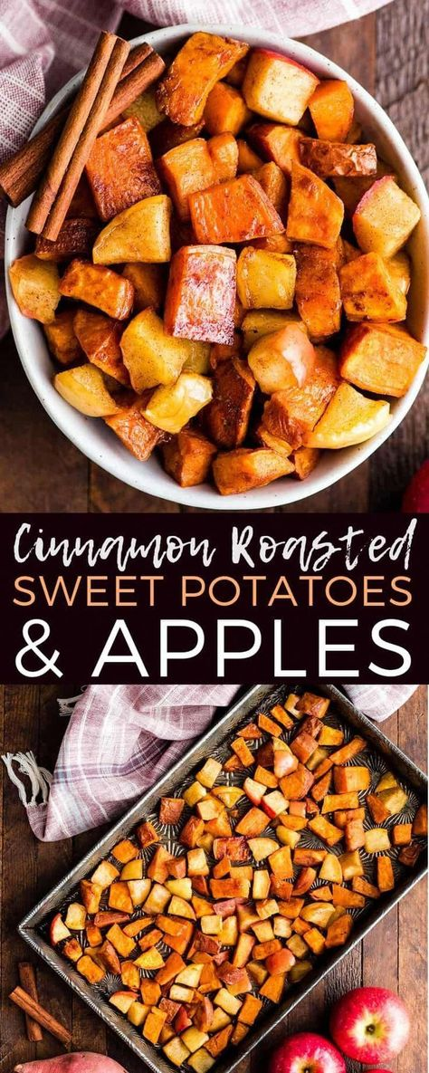 Cinnamon Roasted Sweet Potatoes and Apples Recipe is a healthy and easy side dish that is perfect for Thanksgiving! These crispy roasted sweet potato cubes and tangy apples are made with only 6 ingredients and are paleo, vegan, gluten-free & dairy-free! Roasted Sweet Potato Cubes, Sweet Potato Recipes Healthy, Sweet Potato Cinnamon, Sweet Potato And Apple, Healthy Potatoes, Sweet Potato Side Dish, Cubed Sweet Potatoes, Healthy Food, Sweet Potatoes For Breakfast