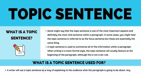 Topic Sentence: Definition, Examples and Useful Tips for Writing A Topic Sentence • 7ESL