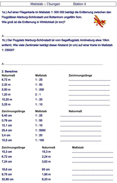 Ubungsblatt Zu Massstab Ubungsblatt Mathe Lernen
