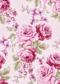 Cut of fabric 45 X 50 cm shabby chic and romantic  blue background patterns old rose  floral fabric