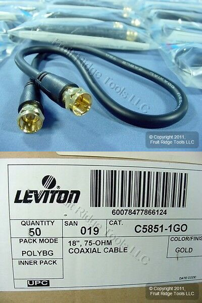 Coaxial Network Cables 175681 50 Leviton 18 Coaxial Video Cables W Gold Plug Ends F Type C5851 1go Buy It Now Only Gold Plugs Network Cables Silver Plugs
