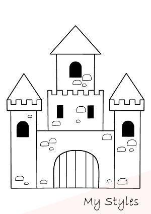 Ritterburg Bastel Und Malvorlage A Kostenlos Ausdrucken Manualidades En Tela Castle Crafts Castle Drawing Art Drawings Beautiful