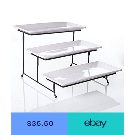 3 Tier Rectangular Serving Platter Three Tiered Cake Tray Stand Food Rack In 2019 Serving Platters Cake Tray Wedding Cake Stands