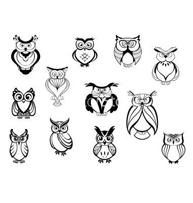 Cute Owls And Owlets Vector By Seamartini On Vectorstock Simple Owl Tattoo Tiny Owl Tattoo Owl Tattoo Design
