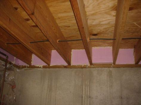 Foam board insulation at rim joists