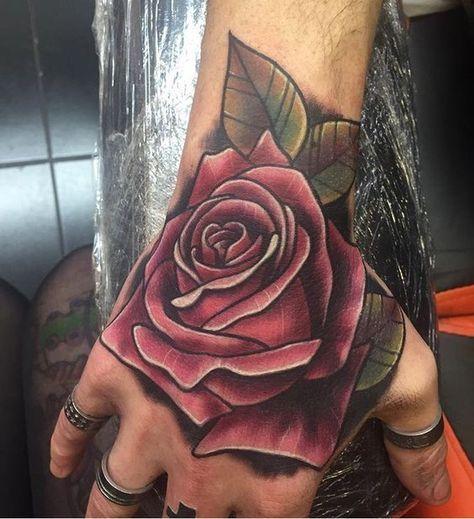 41 Trendy Tattoo Flower Hand Colour Hand Tattoos For Guys Rose Hand Tattoo Hand Tattoos