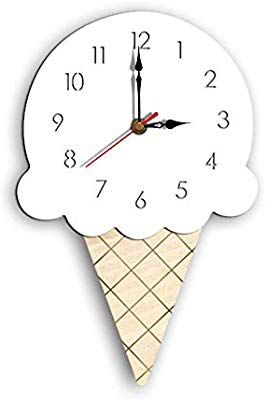 Rojuicy Cartoon Creative Wooden Wall Clock Battery Operated Easy To Read Ice Cream Children S Clock For Home Sch Childrens Clock School Decorations Wall Clock