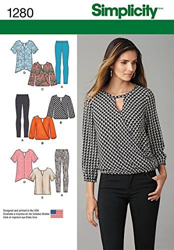 SIMPLICITY 1280 MISSES' LEGGINS, TUNIC IN 2 LENGTHS & TOP (SIZE XS-XL) SEWING PATTERN 1280 A